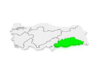 Map of Southeastern Anatolia. Turkey.