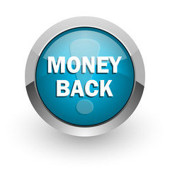 money back blue glossy web icon