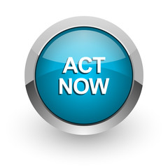 act now blue glossy web icon