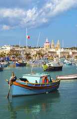 traditional fishing boats marsaxlokk harbour malta