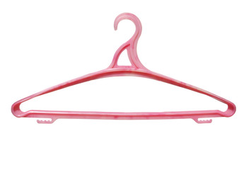 plastic clothes hanger pink isolated on white background.