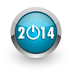 year 2014 blue glossy web icon