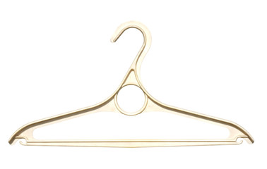 old white plastic clothes hanger isolated on white background.