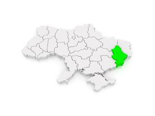 Map of Donetsk region. Ukraine.
