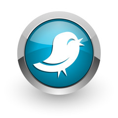 twitter blue glossy web icon