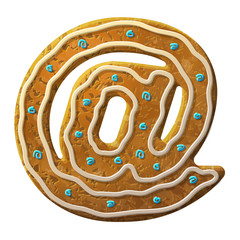 Gingerbread mail symbol decorated colored icing