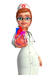 Young Nurse with heart anatomy