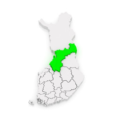 Map of Northern Ostrobothnia. Finland.