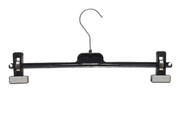 plastic clothes hanger with clips in black isolated on white bac