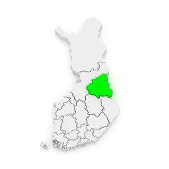 Map of Kainuu. Finland.