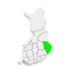 Map of North Karelia. Finland.