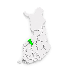 Map of Central Ostrobothnia. Finland.