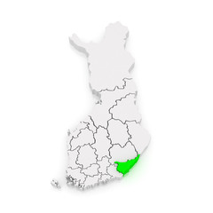 Map of South Karelia. Finland.