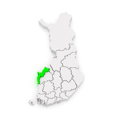 Map of Ostrobothnia. Finland.