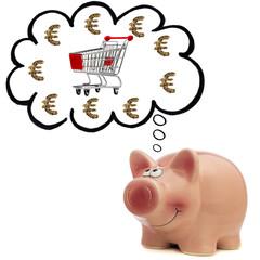 Sparschwein mit Gedankenblase und Einkaufswagen