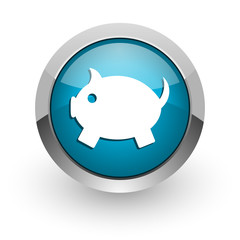 piggy bank blue glossy web icon