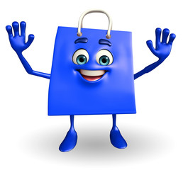 Shopping bag character with hello pose