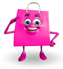 Shopping bag character with salute pose