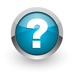 question mark blue glossy web icon