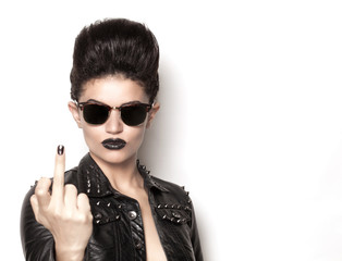 Rock girl wearing sunglasses front
