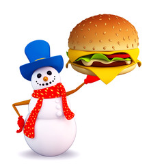 Snowman character with burger