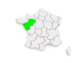 Map of Pays de la Loire. France.