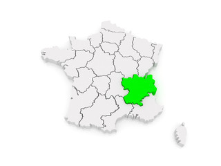 Map of Rhone - Alpes. France.
