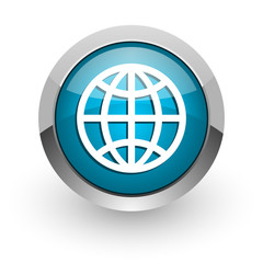 earth blue glossy web icon