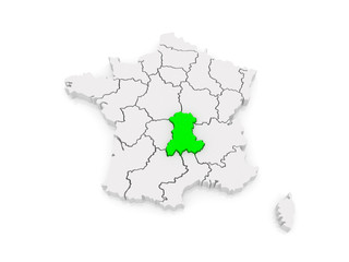 Map of Auvergne. France.
