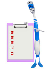 Toothbrush Character with notepad