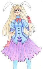 An anime style girl with big rabbit ears