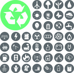 Eco energy icons set 2.