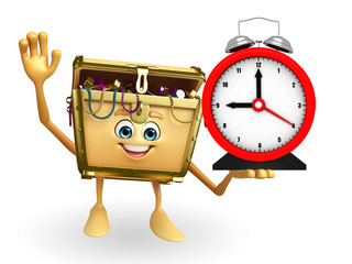 Treasure box character with table clock