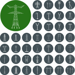 Electrical transmission Tower icons set