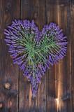 Fototapety Lavender Heart On Dark Wooden Background