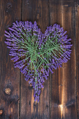 Lavender Heart On Dark Wooden Background
