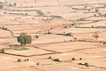 acres in india rajasthan seen from a mountain top