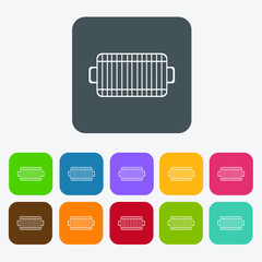 Barbecue grill icons set. Rectangle colourful 12 buttons. Vector