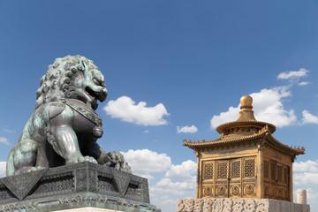 Bronze Guardian Lion Statue and bronze pagoda, beijing