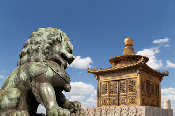 Bronze Guardian Lion Statue and bronze pagoda, beijing