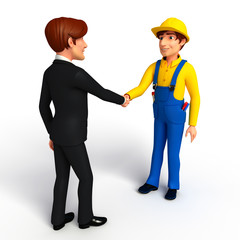 Young Business Man and mechanic with shake hand