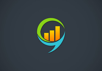 finance talk graph vector logo