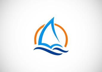 yacht sail ocean vector logo
