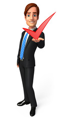 Young Business Man with right sign