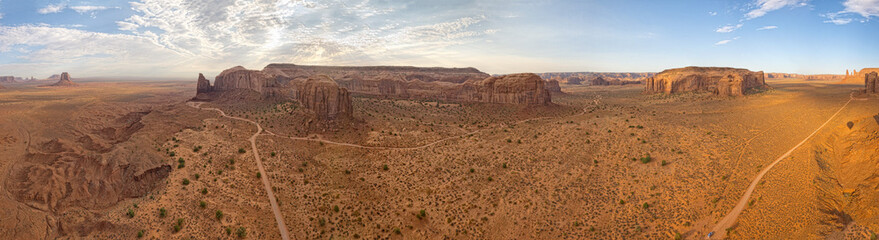 Monument Valley aerial sky view from baloon