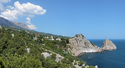 View of Simeiz settlement and mountain Ai-Petri in Crimea