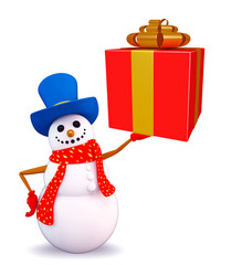 Snowman character with gift box