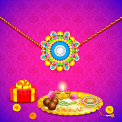 Decorated thali with rakhi for Raksha Bandhan