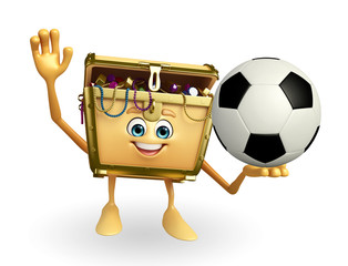 Treasure box character with football