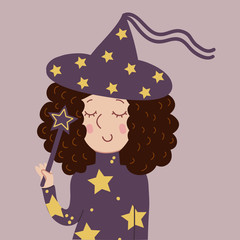 Funny witch with curls and a magic wand on Halloween